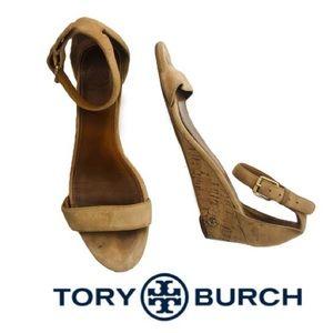 Tory Burch Tan Suede Cork Wedges Sz 8